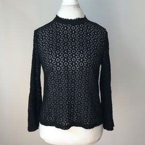 LORD & TAYLOR Black Bell Sleeve Lace Top